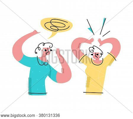 Vector Flat Illustration Communication, Gossip, Friends, Two Women About Different Things. One Whisp