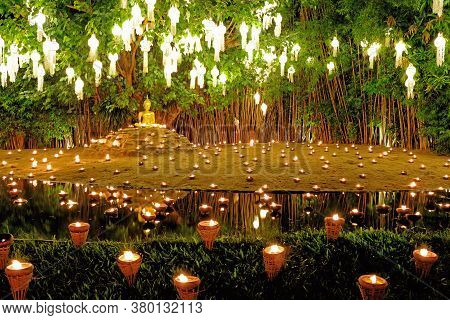 Yee Peng Lighting Loy Krathong In Phan Tao Temple, Chiangmai, Thailand
