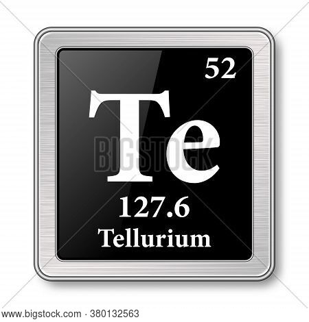 Tellurium Symbol.chemical Element Of The Periodic Table On A Glossy Black Background In A Silver Fra