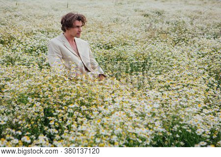 Tall Handsome Man Sitting On A White Chair In Camomile Flowers Field