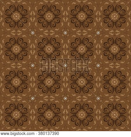 Solo Batik Modern Motif With Simple Dark Brown Color Design.