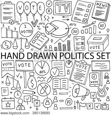 Political Icons Drawn By Hand, Vector Set. Doodle On The Topic Of Politics And Elections.