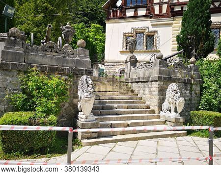Stairs Infront Of Old Castel In Romania With Lion Sculptures