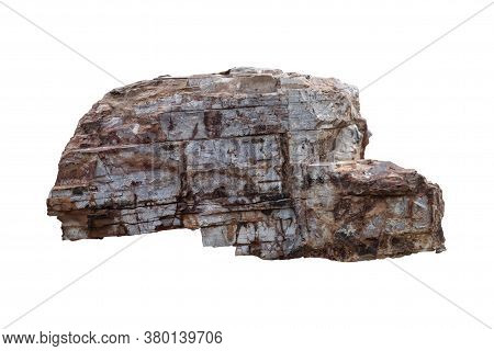 Chert Rock Isolated On White Background With Clipping Path.