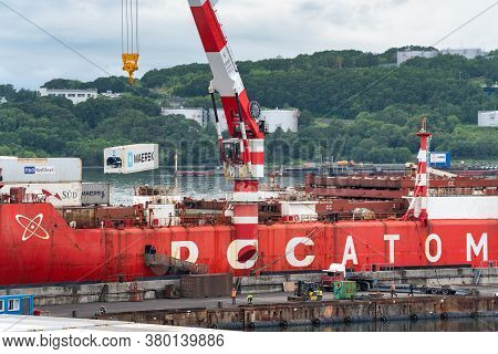 Crane Unloading Container Cargo Ship Sevmorput Rosatomflot - Russian Nuclear-powered Icebreaker Ligh