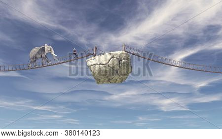 Elephant And Young Man Walking On Bridge To A Rock .