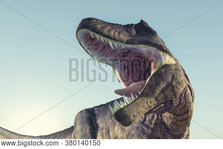 Close Up Of T Rex Roaring . This Is A 3d Render Illustration .