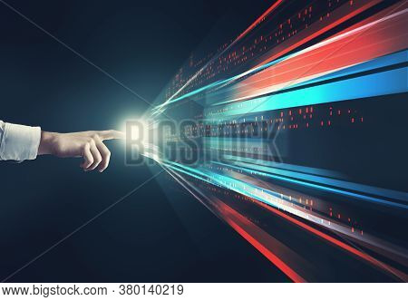 Close Up Of Finger Touching Digital Screen Multimedia .