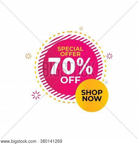 70% Sale Tag Vector Badge Template,70% Sale Label Collection, Clearance Sale Sticker Emblem, Bargain