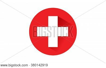Switzerland Flag Button With Long Shadow On White Background ,illustration, Textured Background, Sym