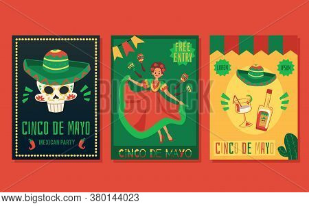 Set Of Flyers And Posters For A Traditional Mexican Holiday Cinco De Mayo.