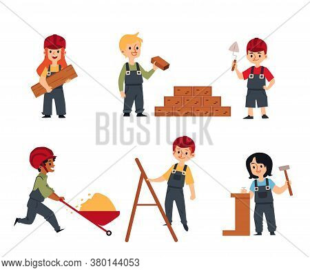 Cute Children - Builders And Constructors Flat Vector Illustration Set Isolated.