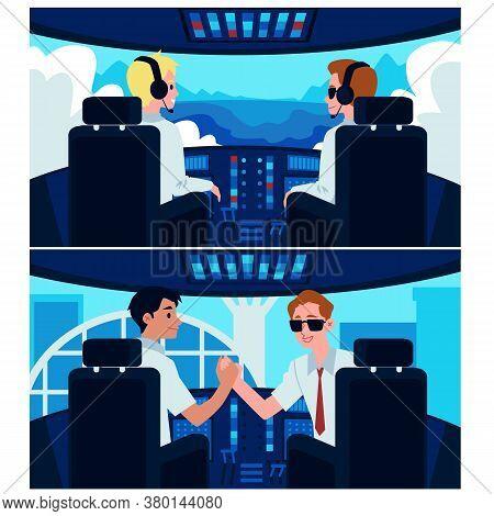Cartoon Airplane Cockpit Interior With Plane Captain And Second Pilot