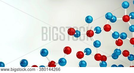 Abstract Molecules Design Background in Blue and Red 3d Render