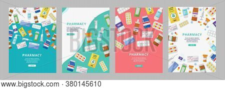 Online Pharmacy Ad Poster Set With Colorful Pill Bottles, Boxes And Syringes