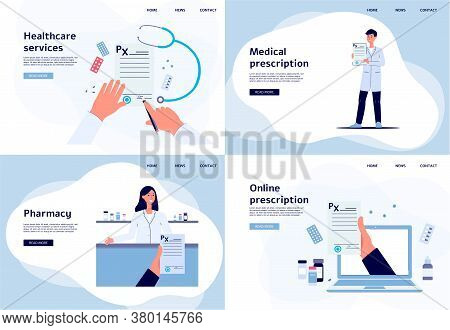 Online Medical Diagnosis And Healthcare Service Set Of Flat Vector Illustrations.