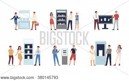 Exhibition Hall Employees Near Stands Flat Vector Illustrations Set Isolated.