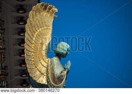 Angel Statue Detail On The Otto Wagner Church Kirche Am Steinhof, An Art Nouveau Sculpture With Gold