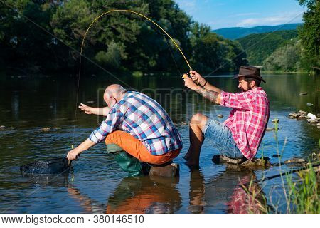 Fishing. Men Bearded Fisher. Hobby And Recreation. Rural Getaway. Retirement Is Just The Beginning.