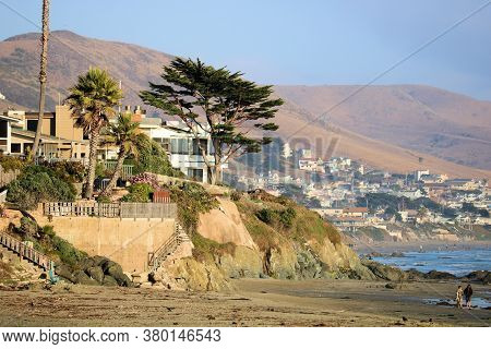 Beach Community On A Hillside Overlooking The Pacific Ocean Surrounded By Windswept Cypress Pinetree