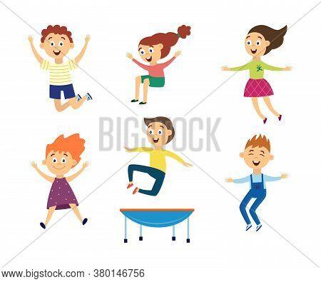 Set Of Children Jump For Joy On Trampoline Flat Vector Illustration Isolated.