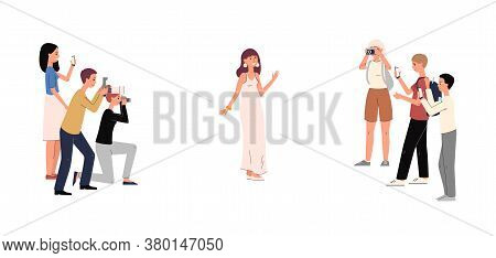 Cartoon Celebrity Woman In Luxury Dress Posing For Paparazzi Camera