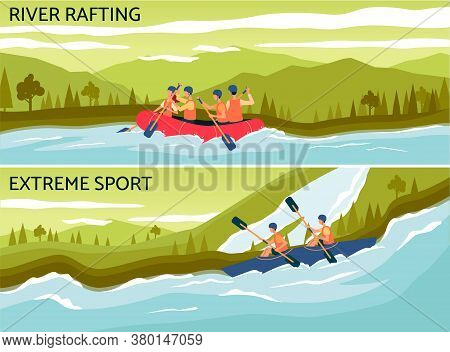 River Rafting - Extreme Water Sport Banner With Cartoon People On Raft Boat
