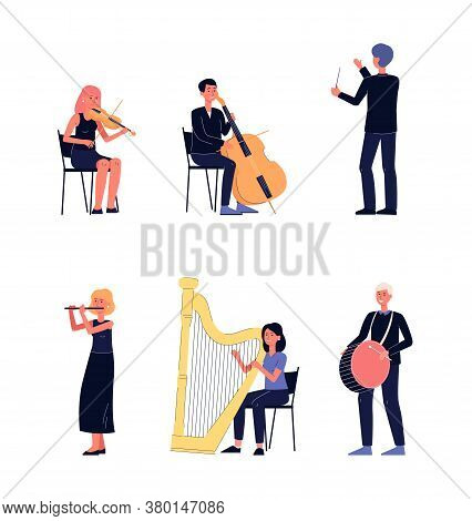 Symphony Orchestra Musician People - Flat Isolated Cartoon Set
