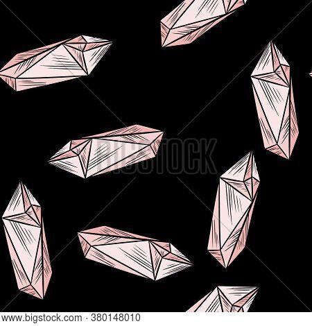 Crystal Doodles Seamless Pattern. Cute Cartoon Vector Quartz Amethyst Wallpaper. Cozy Boho Style Tem