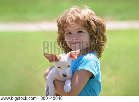 Child Lovingly Embraces His Pet Dog. Close Up, Copy Space. Best Friends Kid And Puppy Rest And Have