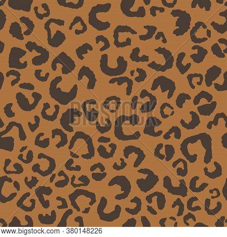 Leopard Print, Seamless Pattern. Skin Of Cheetah, Leopard. Fashionable Fabric, Elegant Animal Backgr