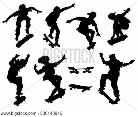 Skateboarders Perform Tricks Black Silhouette Vector Illustrations Set Isolated.