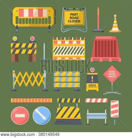 Repair Road Construction Set. Barriers Reinforced With Flashing Lights Streets Symbol Safe Reconstru