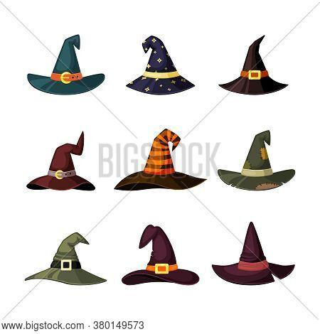 Witchcraft Hats Set. Caps By Wizard And Magicians Colored Masquerade Elements Halloween Traditional