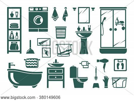 Handdrawn Bathroom Equipment Set. Modern Washing Machine Bath Shower Green Toilet Bowl Paper And Bru