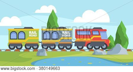 Toy Train On Railroad Illustration. Fun Journey Through Picturesque Meadow With Lake And Trees Color