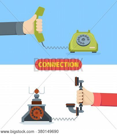 Telephone Communication Illustration. Old Wired Call Technology Retro Connection Service Devices Cla