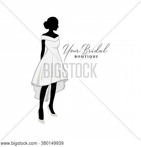 Beautiful Bride Short Gown Logo Ideas, Bridal Boutique Logo, Bridal Gown Logo Vector Design Template