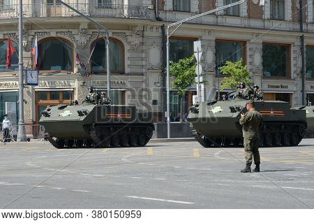 Moscow, Russia - June 20, 2020:multi-purpose Amphibious Armored Personnel Carrier Btr-mdm