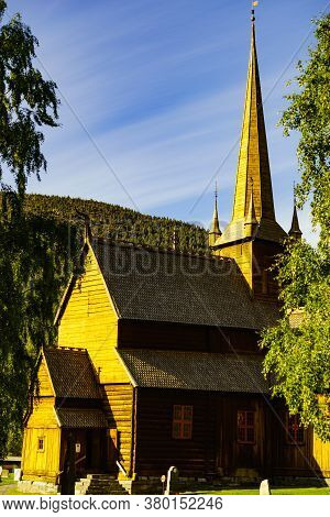 Lom, Norway - July 7, 2018: Old Wooden Traditional Stave Church Built Second Part Of 12th Century, O