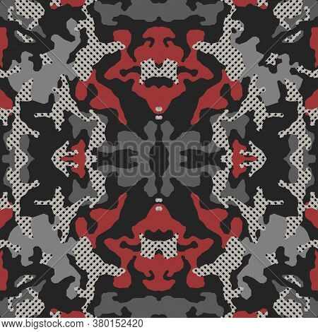 Abstract Symmetrical Camouflage Pattern, Psychedelic Camo Background. Embroidery Background. Bandann