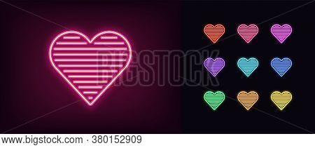 Neon Heart Icon. Glowing Neon Heart Sign With Horizontal Line Texture, Amour Shape In Vivid Colors.