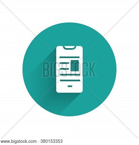 White Online Book On Mobile Icon Isolated With Long Shadow. Internet Education Concept, E-learning R