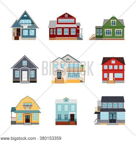 Front View House Exteriors. Private Cartoon Modern Nice Wooden And Brick Houses Of Different Shapes