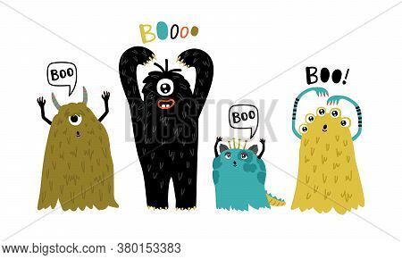 Cute Furry Creatures. Cartoon Funny Monsters, Humor Characters For Mascot, Vector Illustration Of Li