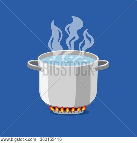 Pan On Fire. Cartoon Pot With Hot Boiling Water, Vector Illustration Of Cooking Object For Kitchen O