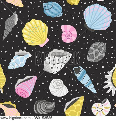 Ocean Seashells Seamless Pattern. Cartoon Sea Objects, Hand Drawn Colorful Shells For Decoration, El
