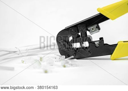 Internet Or Telephone Line Cables And Crimper, Twisting Cable Tool Twisted Pair Ethernet Utp Cat 5,