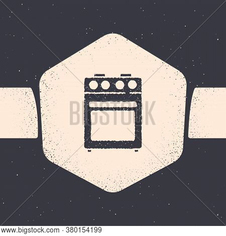 Grunge Oven Icon Isolated On Grey Background. Stove Gas Oven Sign. Monochrome Vintage Drawing. Vecto