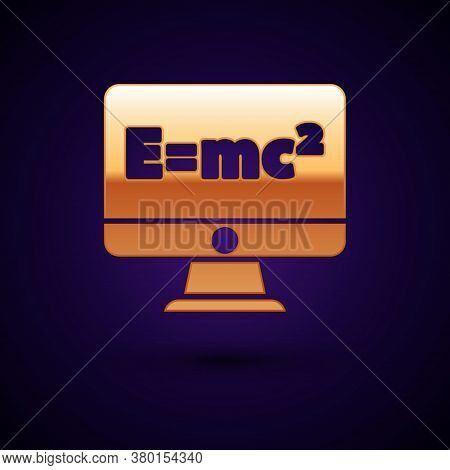 Gold Math System Of Equation Solution On Computer Monitor Icon Isolated On Black Background. E Equal